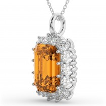 Emerald Cut Citrine & Diamond Pendant 14k White Gold (5.68ct)