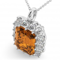 Emerald Cut Citrine & Diamond Pendant 14k White Gold (5.68ct)