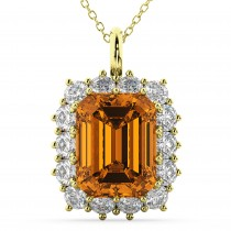 Emerald Cut Citrine & Diamond Pendant 14k Yellow Gold (5.68ct)