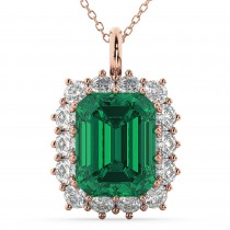 Emerald Cut Emerald & Diamond Pendant 14k Rose Gold (5.68ct)