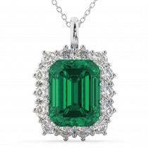 Emerald Cut Emerald & Diamond Pendant 14k White Gold (5.68ct)