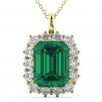 Emerald Cut Emerald & Diamond Pendant 14k Yellow Gold (5.68ct)