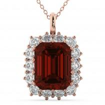 Emerald Cut Garnet & Diamond Pendant 14k Rose Gold (5.68ct)