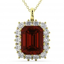 Emerald Cut Garnet & Diamond Pendant 14k Yellow Gold (5.68ct)