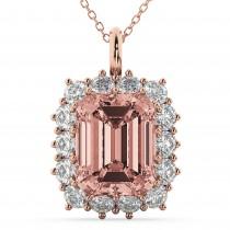 Emerald Cut Morganite & Diamond Pendant 14k Rose Gold (5.68ct)
