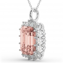 Emerald Cut Morganite & Diamond Pendant 14k White Gold (5.68ct)