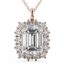 Emerald Cut Moissanite & Diamond Pendant 14k Rose Gold (5.68ct)