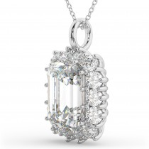 Emerald Cut Moissanite & Diamond Pendant 14k White Gold (5.68ct)