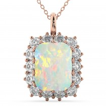 Emerald Cut Opal & Diamond Pendant 14k Rose Gold (5.68ct)