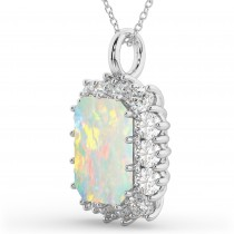 Emerald Cut Opal & Diamond Pendant 14k White Gold (5.68ct)