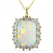 Emerald Cut Opal & Diamond Pendant 14k Yellow Gold (5.68ct)