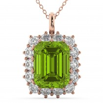 Emerald Cut Peridot & Diamond Pendant 14k Rose Gold (5.68ct)