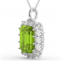 Emerald Cut Peridot & Diamond Pendant 14k White Gold (5.68ct)