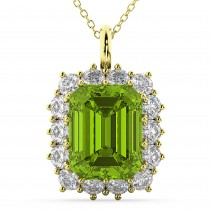 Emerald Cut Peridot & Diamond Pendant 14k Yellow Gold (5.68ct)
