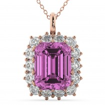 Emerald Cut Pink Sapphire & Diamond Pendant 14k Rose Gold (5.68ct)