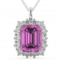 Emerald Cut Pink Sapphire & Diamond Pendant 14k White Gold (5.68ct)
