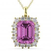 Emerald Cut Pink Sapphire & Diamond Pendant 14k Yellow Gold (5.68ct)