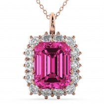 Emerald Cut Pink Tourmaline & Diamond Pendant 14k Rose Gold (5.68ct)