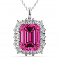 Emerald Cut Pink Tourmaline & Diamond Pendant 14k White Gold (5.68ct)