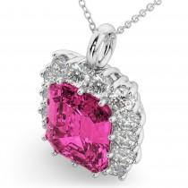 Emerald Cut Pink Tourmaline & Diamond Pendant 14k White Gold (5.68ct)
