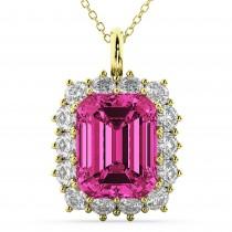 Emerald Cut Pink Tourmaline & Diamond Pendant 14k Yellow Gold (5.68ct)