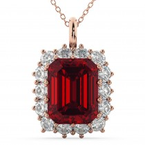 Emerald Cut Ruby & Diamond Pendant 14k Rose Gold (5.68ct)