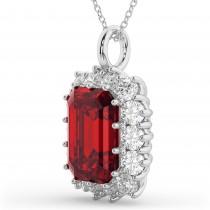 Emerald Cut Ruby & Diamond Pendant 14k White Gold (5.68ct)