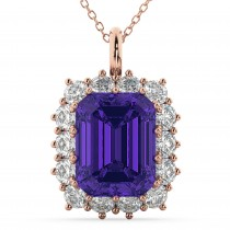 Emerald Cut Tanzanite & Diamond Pendant 14k Rose Gold (5.68ct)