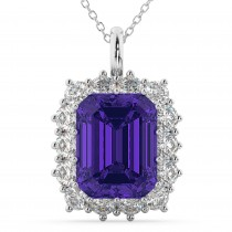 Emerald Cut Tanzanite & Diamond Pendant 14k White Gold (5.68ct)