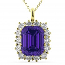 Emerald Cut Tanzanite & Diamond Pendant 14k Yellow Gold (5.68ct)