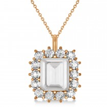 Emerald Cut White Topaz & Diamond Pendant 14k Rose Gold (5.68ct)