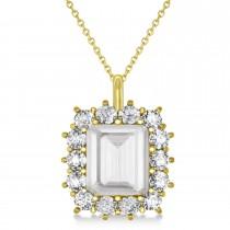 Emerald Cut White Topaz & Diamond Pendant 14k Yellow Gold (5.68ct)