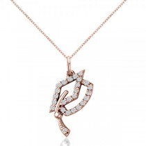 Diamond Graduation Cap Pendant Necklace 14k Rose Gold (0.13ct)