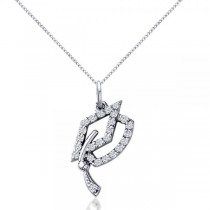 Diamond Graduation Cap Pendant Necklace 14k White Gold (0.13ct)
