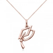 Graduation Cap Charm Pendant Necklace Plain Metal 14k Rose Gold