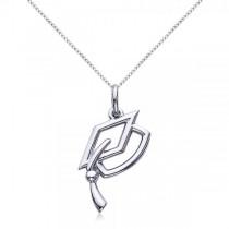Graduation Cap Charm Pendant Necklace Plain Metal 14k White Gold