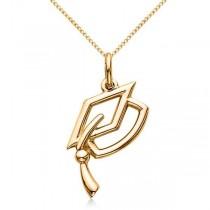 Graduation Cap Charm Pendant Necklace Plain Metal 14k Yellow Gold