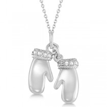 Mittens Pendant Necklace Diamond Accented 14k White Gold (0.06ct)