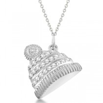 Diamond Winter Hat Pendant Necklace 14k White Gold (0.12ct)