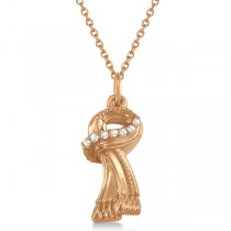 Scarf Necklace Pendant Diamond Accented 14k Pink Gold (0.04ct)