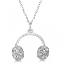 Earmuffs Pendant Necklace Plain Metal 14k White Gold