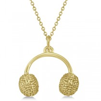 Earmuffs Pendant Necklace Plain Metal 14k Yellow Gold