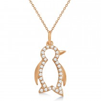Diamond Penguin Pendant Necklace 14k Rose Gold (0.16ct)