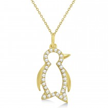 Diamond Penguin Pendant Necklace 14k Yellow Gold (0.16ct)