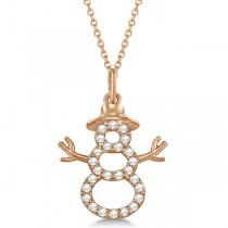 Snowman Diamond Necklace Pendant 14k Rose Gold (0.13ct)