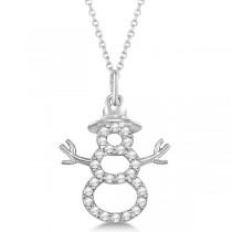 Snowman Diamond Necklace Pendant 14k White Gold (0.13ct)