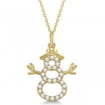 Snowman Diamond Necklace Pendant Diamond Accented14k Yellow Gold (0.13ct)
