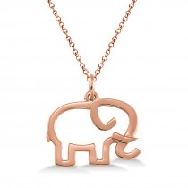 Elephant Shaped Pendant Necklace Plain Metal 14k Rose Gold