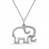 Elephant Shaped Pendant Necklace Plain Metal 14k White Gold