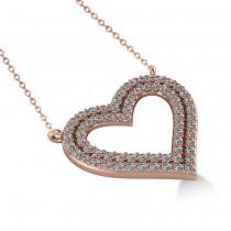 Double Row Open Heart Diamond Pendant Necklace 14k Rose Gold (0.66ct)